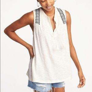 relaxed sleeveless tassel tie top old navy